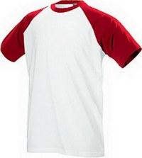 Сублимационная печать на футболке белой, красный ворот и рукава, размер...