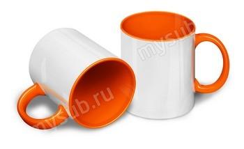 Кружка цветная внутри + цветная ручка (оранжевая)