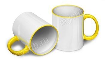 Кружка белая, с жёлтыми ручкой и ободком под сублимацию
