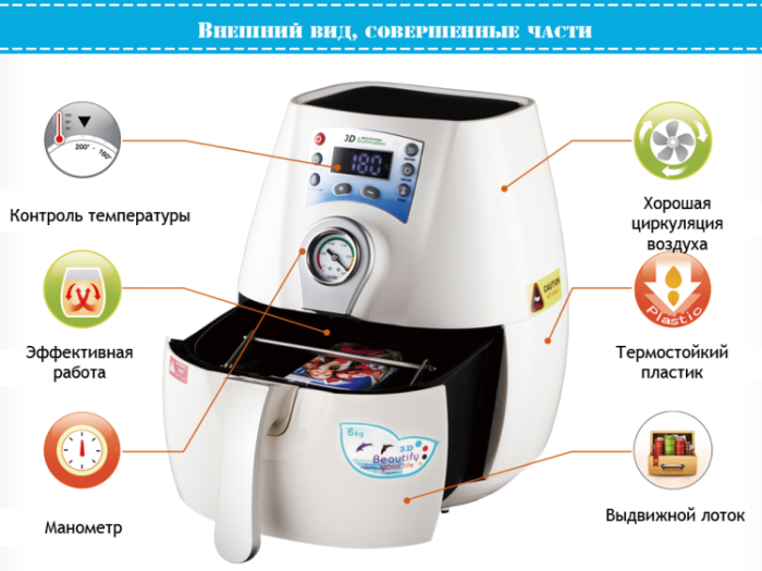 Идеальный дизайн термопресса вакуумного-мини. STARTER для чехлов телефонов